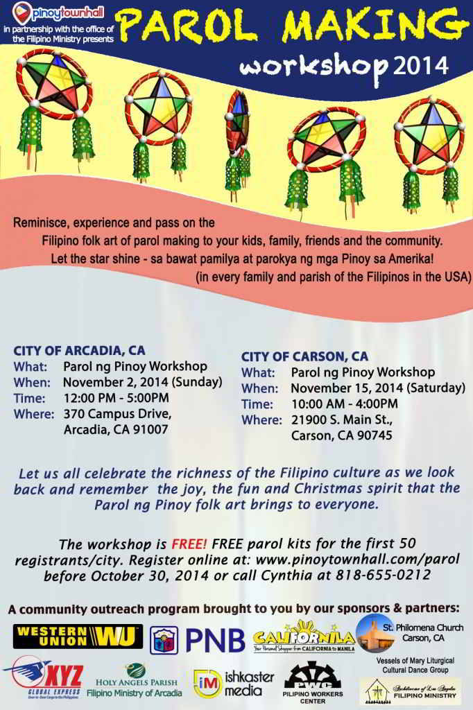 Make this Christmas a Filipino Christmas. Join Pinoy Town Hall's Parol Making Workshop